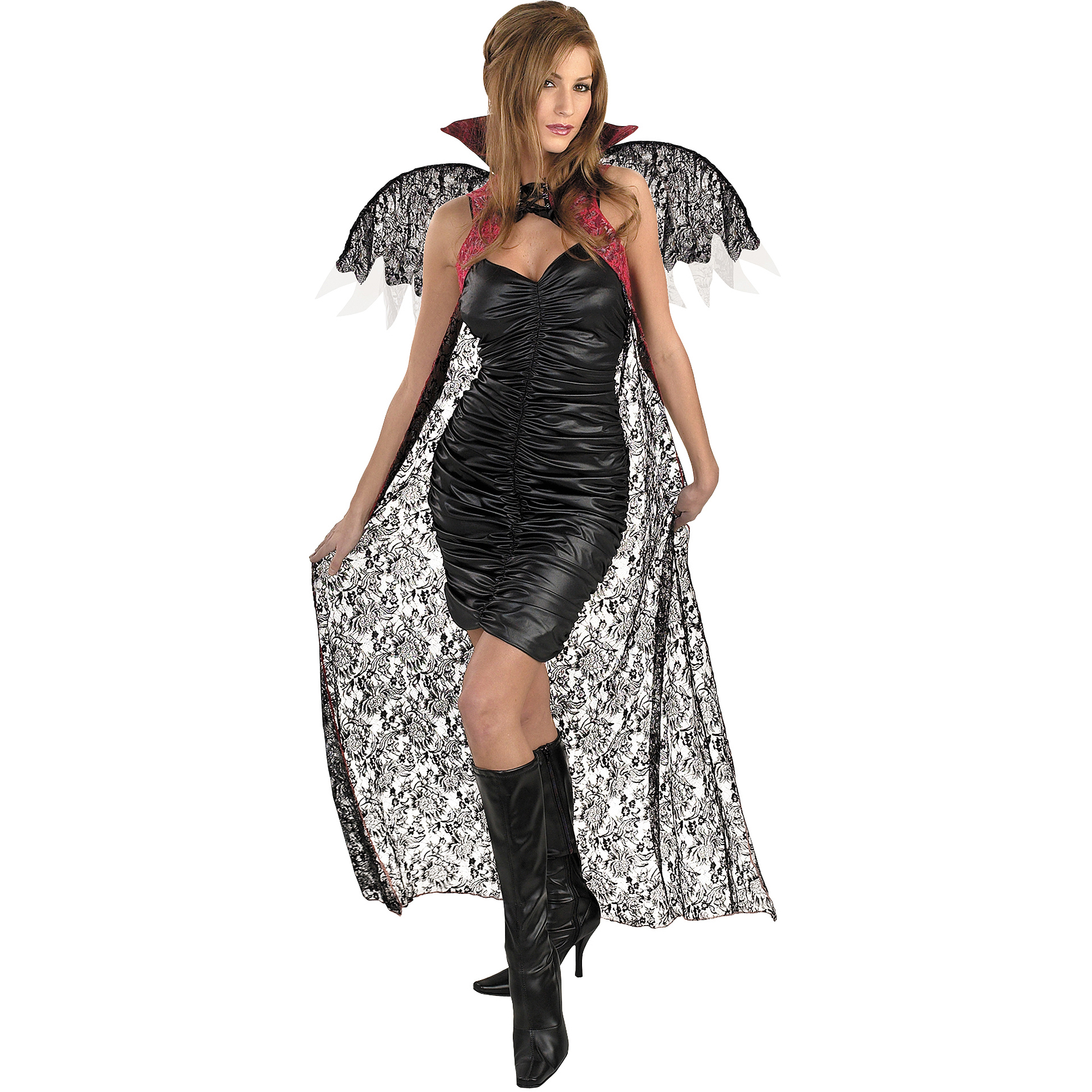Red and Black Lace Cape with Wings Adult Halloween Costume