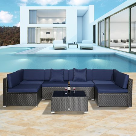 Outsunny 7 Piece Patio Wicker Sofa Set Sectional Rattan Outdoor Furniture with Blue Cushions ()