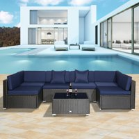 44cf8aae6355 Product Image Outsunny 7 Piece Patio Wicker Sofa Set Sectional Rattan  Outdoor Furniture