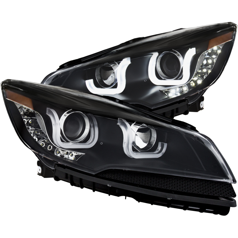 ANZO 2013-2015 Ford Escape Projector Headlights w/ U-Bar Black
