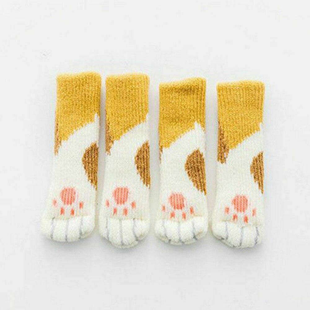 Details about  /4pcs Chair Leg Socks Feet Sleeve Table Cover Anti-Slip Knitting Wool Floor