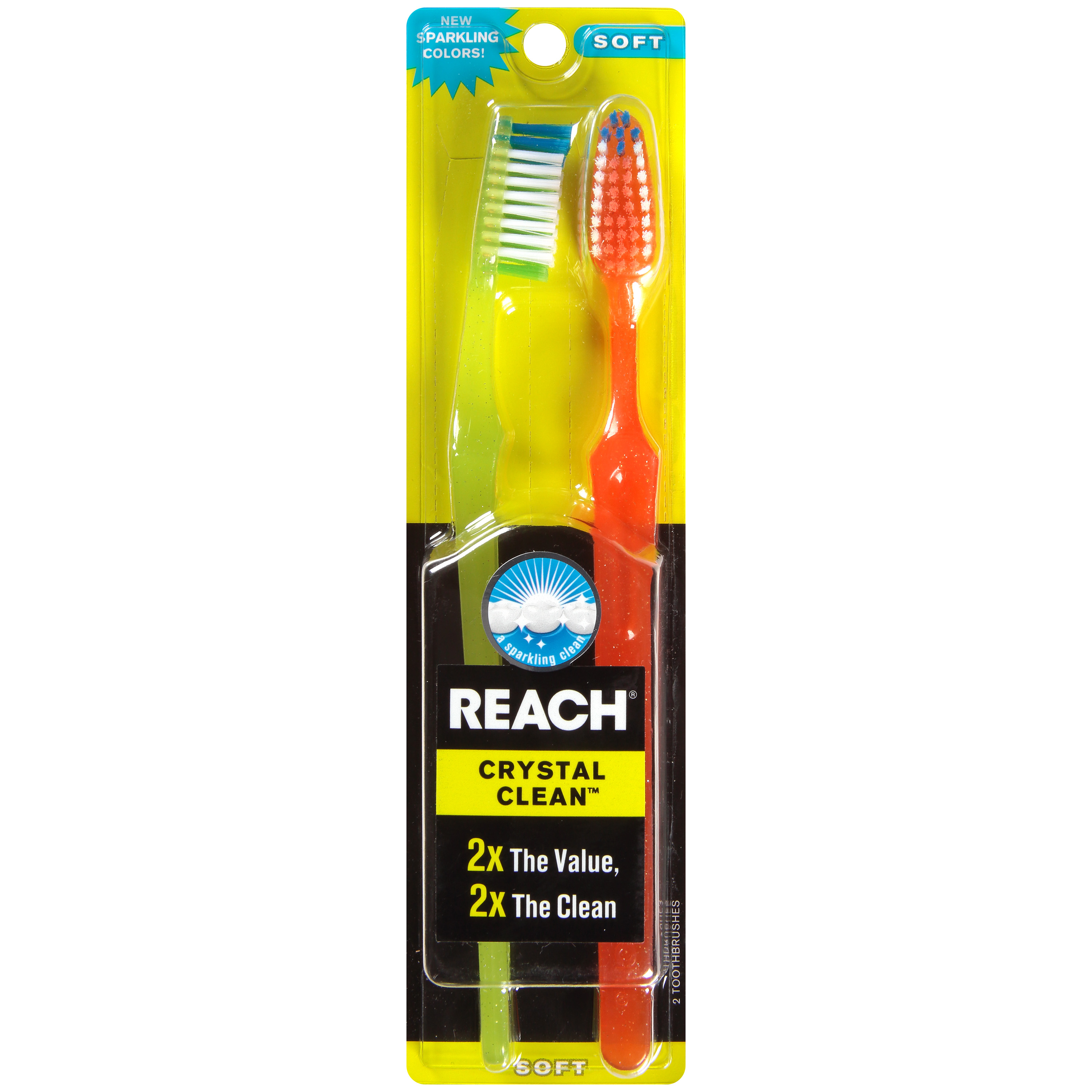 Reach® Crystal Clean™ Soft Toothbrushes, 2 count