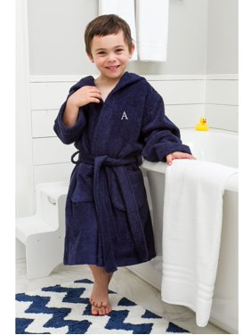 Linum Home Sweet Kids Turkish Cotton Terry Midnight Blue with Grey Block Monogram Hooded Bathrobe