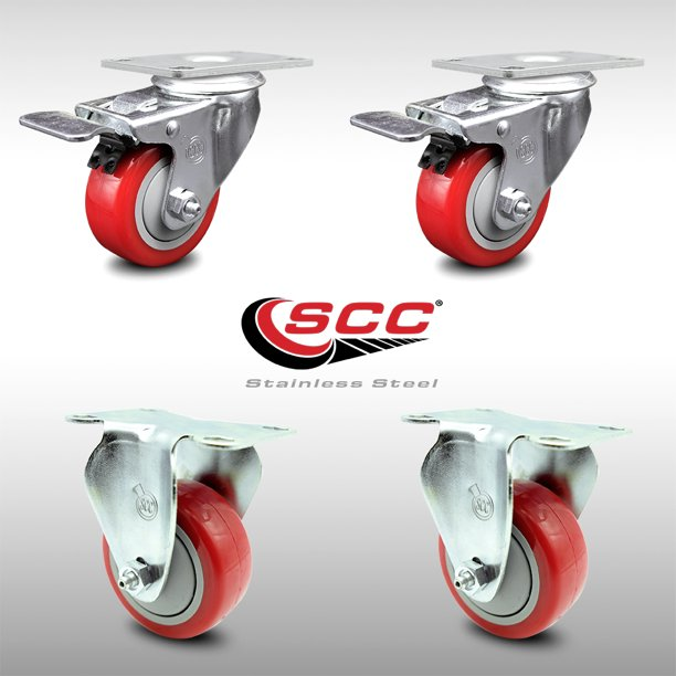 Stainless Steel Polyurethane Top Plate Caster Set Of 4 W 3 X 1 25 Red Wheels 2