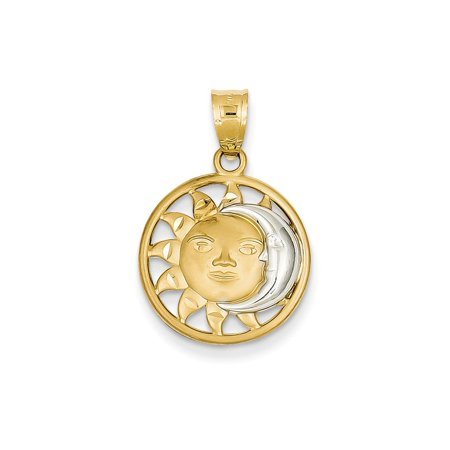 14k Yellow Gold Sun Moon Pendant Charm Necklace Celestial Fine Jewelry For Women Gift Set