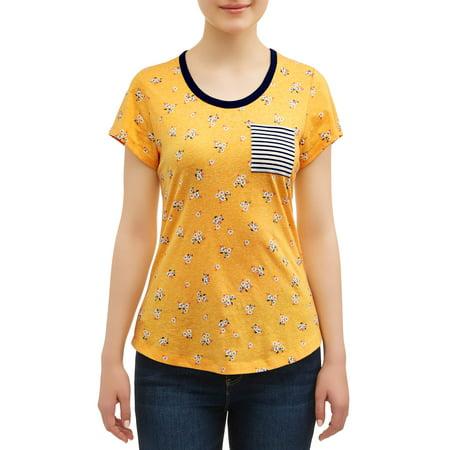 No Boundaries Juniors' All Over Printed Contrast Ringer Pocket T-Shirt (Music Ladies Ringer T-shirt)