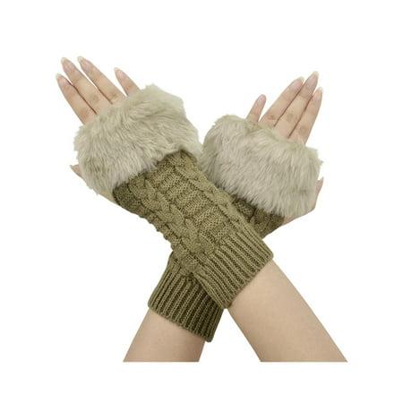 Women's Faux Fur Arm Warmers Cable Knit Fingerless Gloves Winter Warmers,Khaki ()