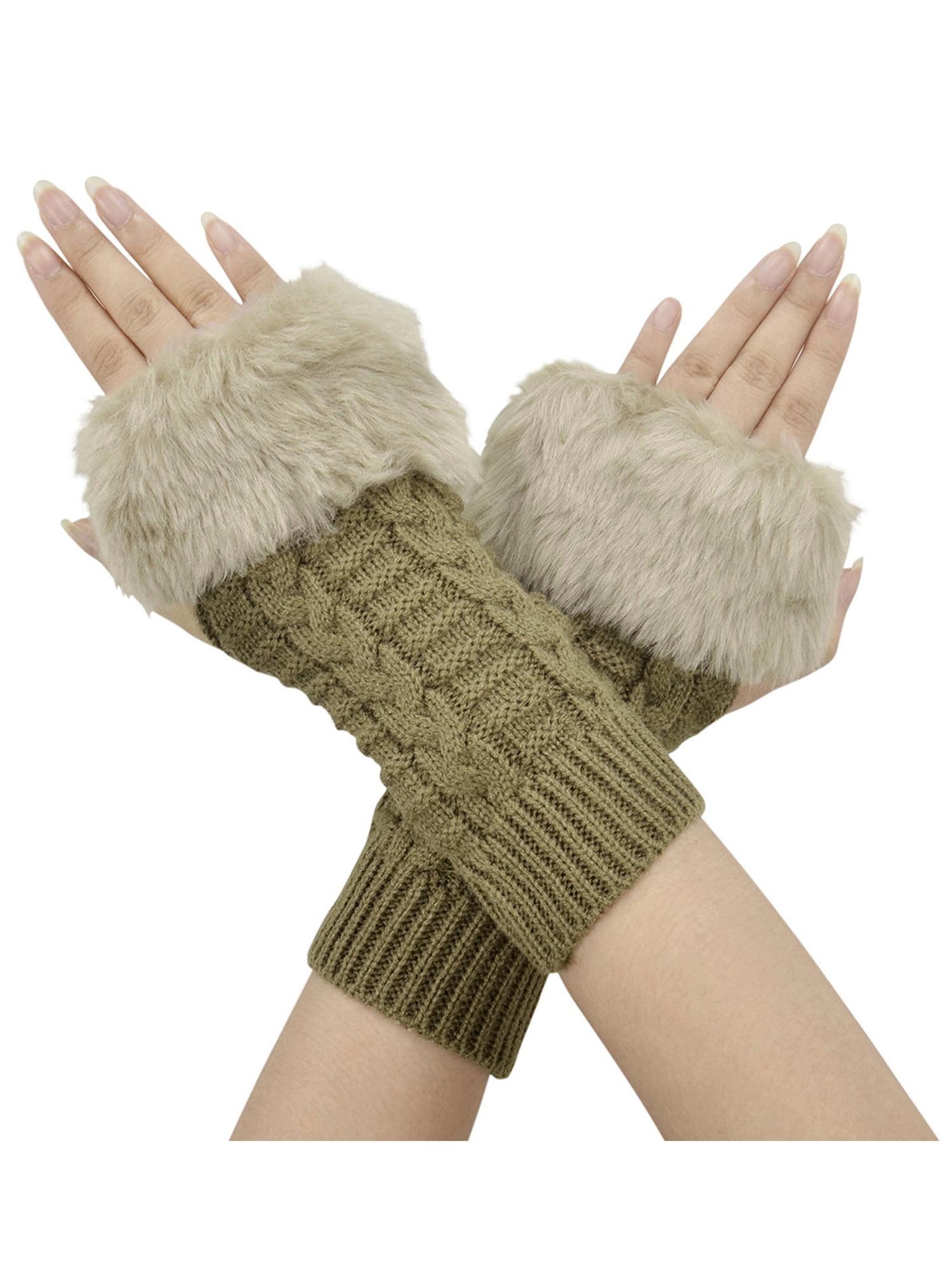Womens Hand Crochet Arm Warmers Winter Mitten with Thumb Holes,Drak Grey