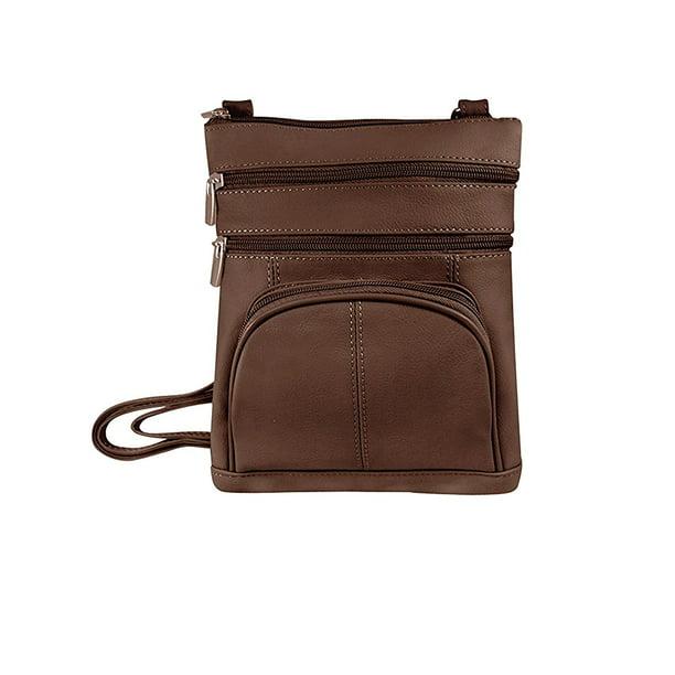 Roma Leather Roma Leathers Genuine Leather Multi Pocket Crossbody Purse Bag Walmart Com Walmart Com
