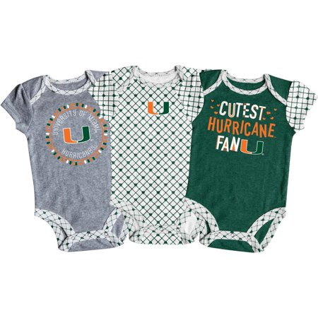 Halloween Parties In Miami (Girls Newborn & Infant Russell Athletic Green/White/Gray Miami Hurricanes 3-Pack Team Bodysuit)