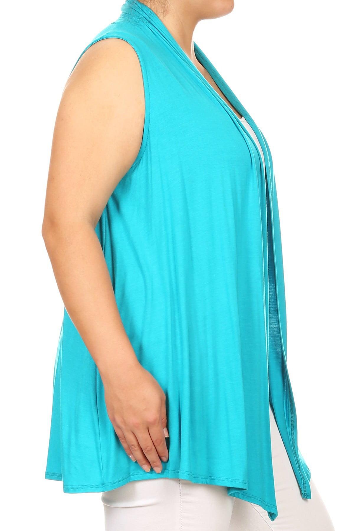 52f1432b6481df BNY Corner - BNY Corner Women Plus Size Sleeveless Cardigan Open Front  Casual Vest Cover Up Jade 1X 622 SD BNY Corner - Walmart.com