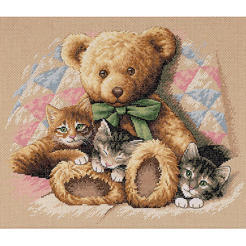 "Dimensions ""Teddy and Kittens"" Counted Cross Stitch Kit, 14"" x 12"""