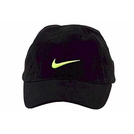 50ff1a08ab4f4 NIKE Little Boys  Just Do It Sports Hat Adjustable Sun Cap (Black with Volt  Swoosh) - Infant
