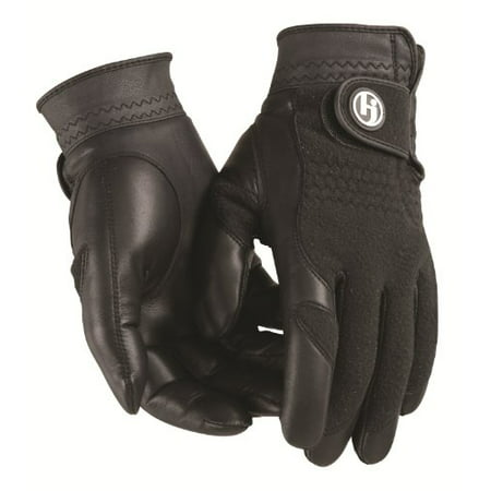 White Cabretta Leather (HJ Winter Gloves, Mens MEDIUM, Pair of Fleece/Leather, Cabretta Leather)