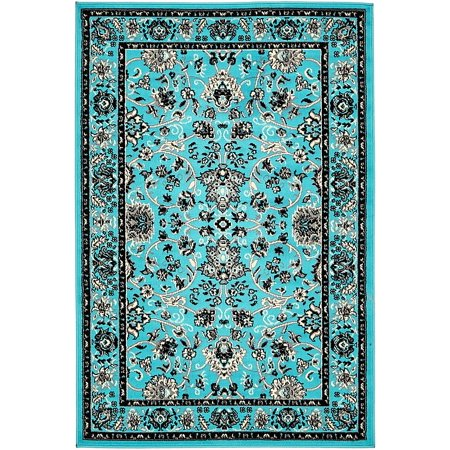 Unique Loom Traditional Kashan Turquoise 4 X 6 Area Rug