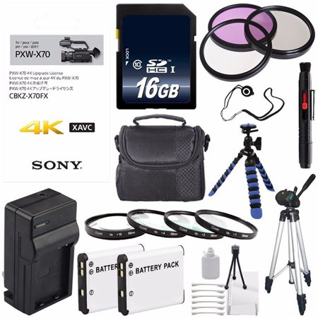 Sony 4K Upgrade License Key for Sony PXW-X70 + NP-FV70 Replacement Lithium Ion Battery + External Rapid Charger + Carrying Case + 62mm 3 Piece Filter Kit + 62mm Macro Close Up Kit Bundle 8