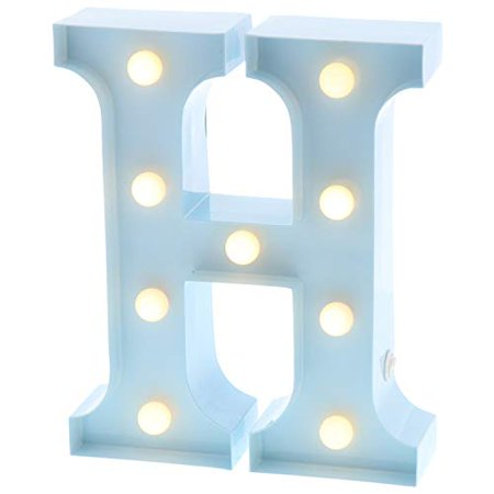 Barnyard Designs Metal Marquee Letter H Light Up Wall Initial Nursery Letter, Home and Event Decoration 9