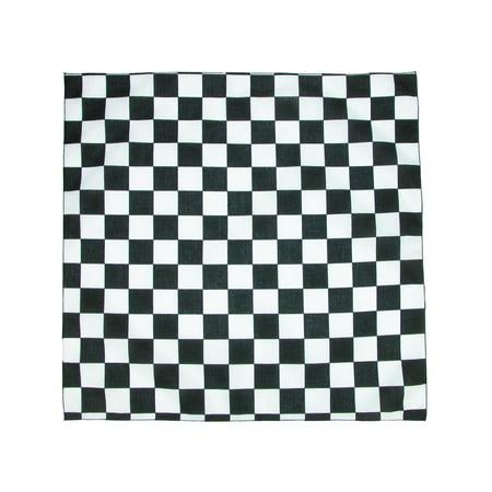 Size one size Checkerboard Print Bandana, Black