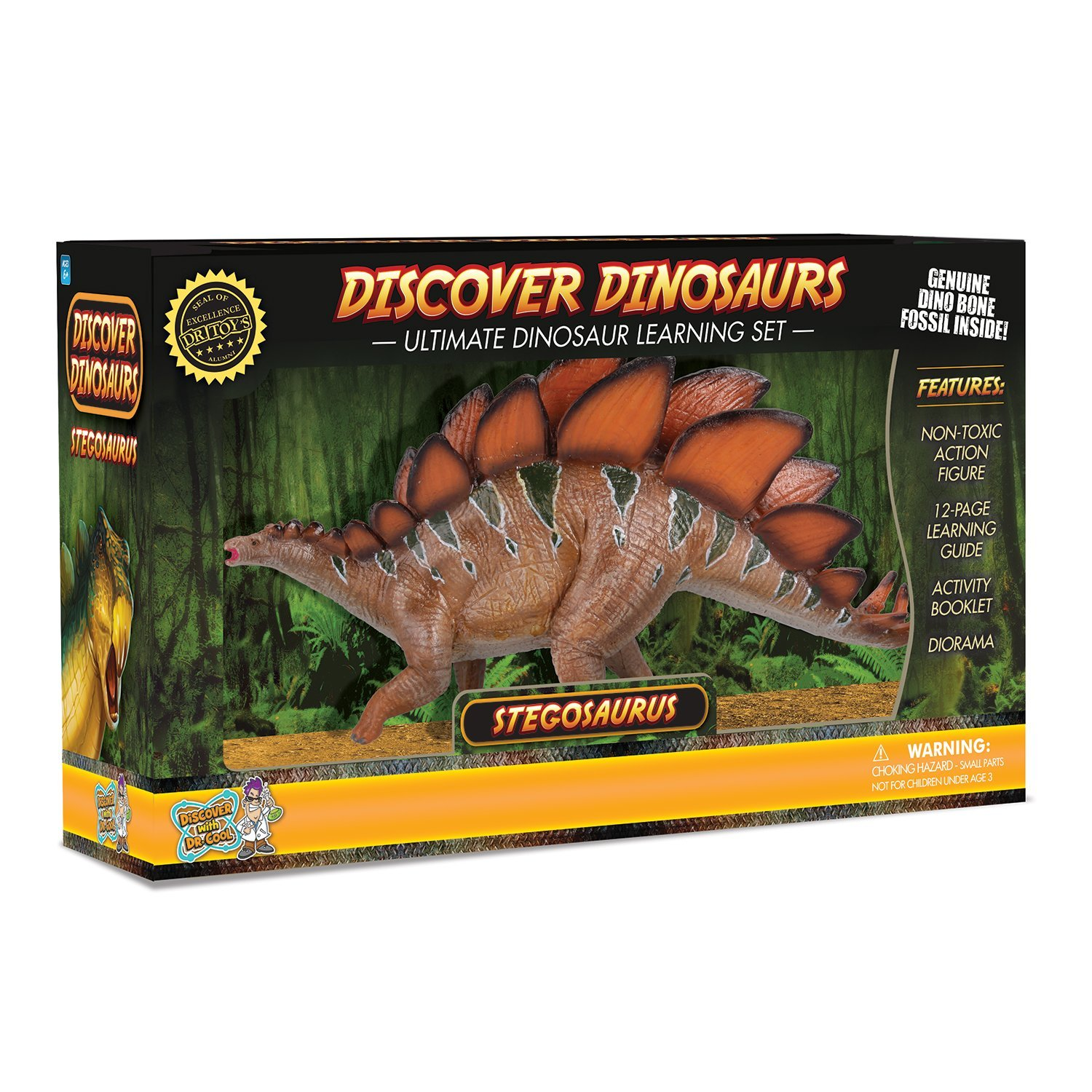 Stegosaurus Action Figure – Includes Real Dinosaur Bone F...