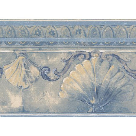 Blue Scroll Wallpaper (Abstract Seashells Silver Damask Scrolls Cerulean Blue Wallpaper Border Retro Design, Roll 15' x 7'')