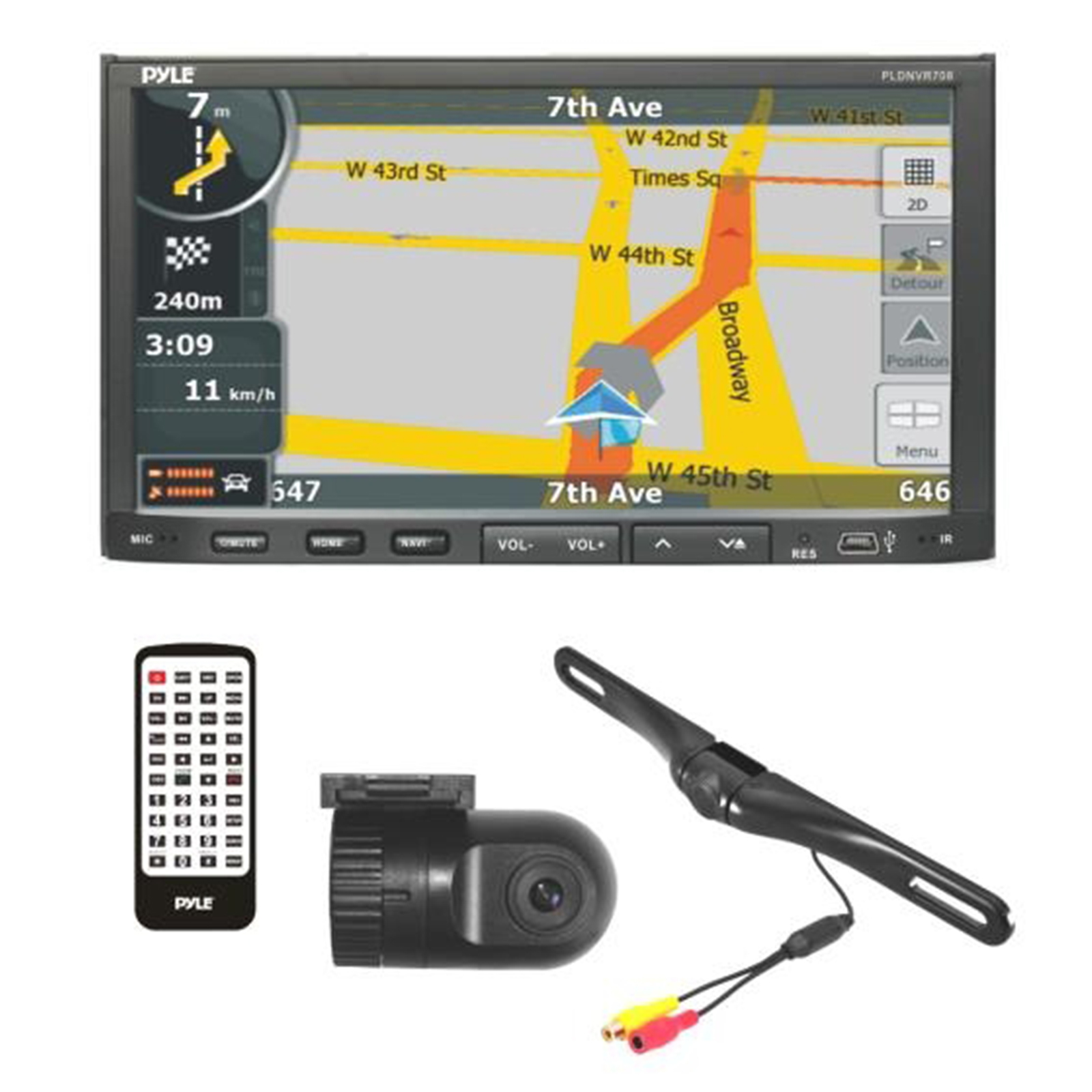 Stereo Receiver Headunit Radio, Rearview Backup Camera & Dash Cam Driving System Kit, GPS Navigat, BT Wireless... by Pyle