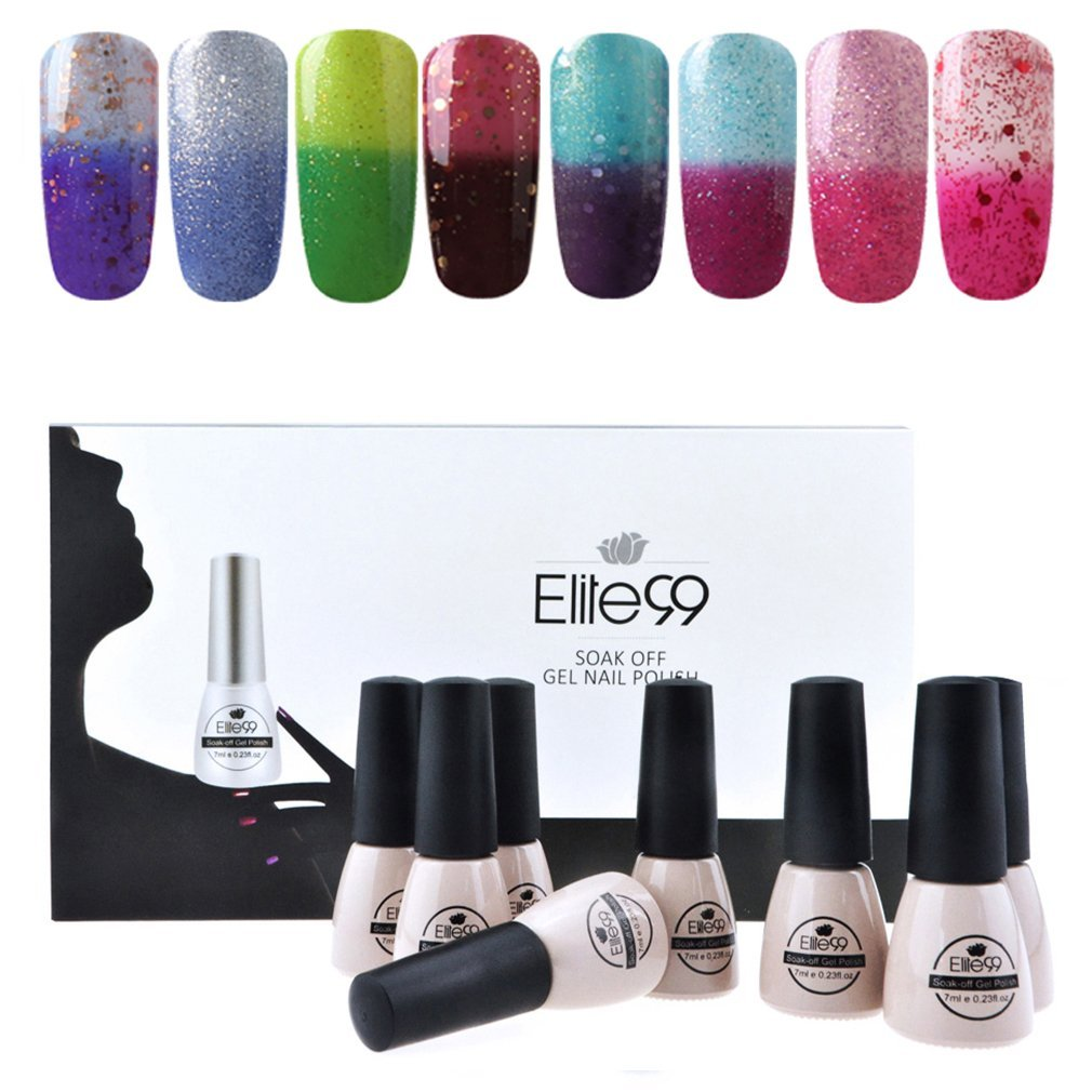 Elite99 Temperature Color Changing Gel Nail Polish Kit 8 Colors, Soak Off UV LED Nail Polish Set Nail Art C042
