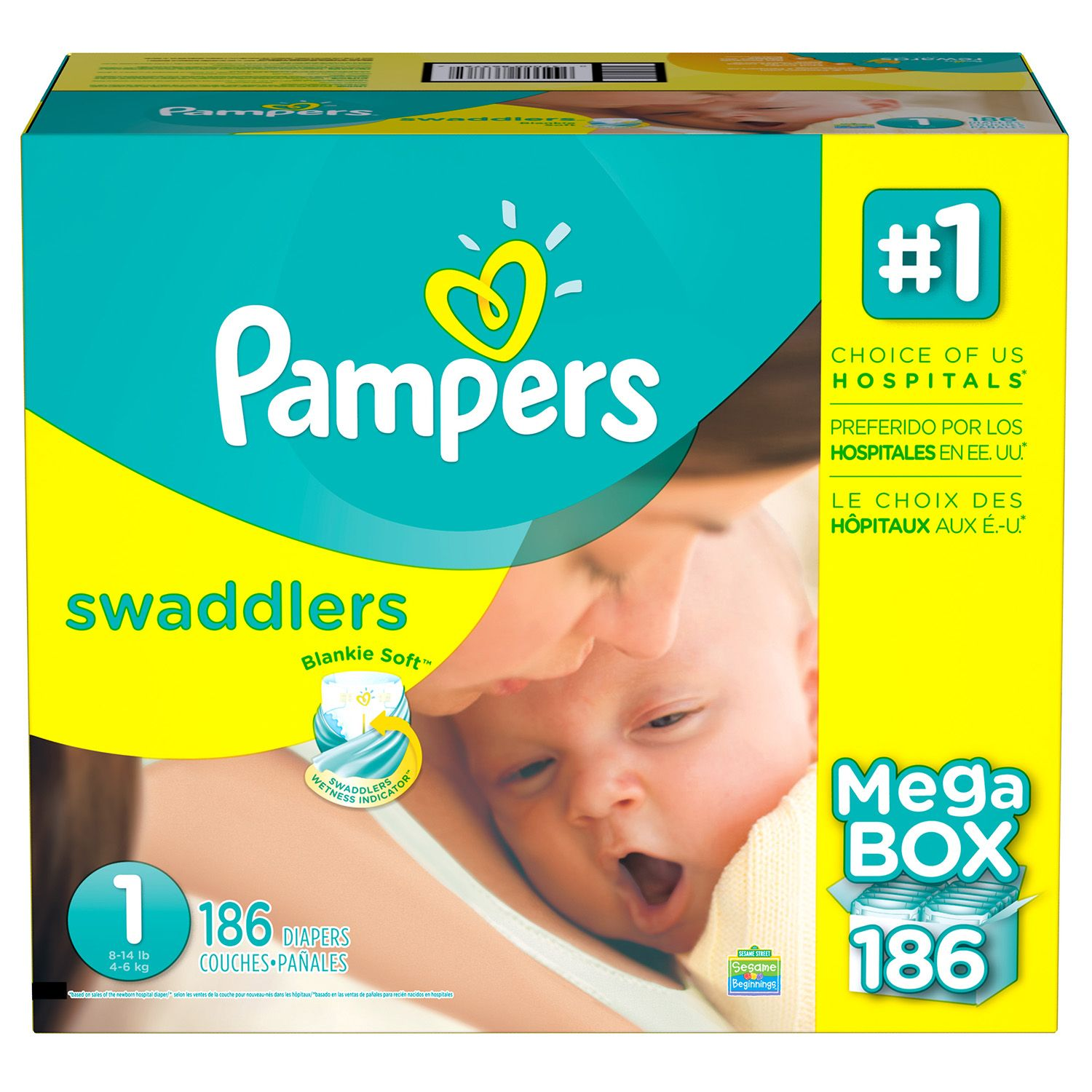 Pampers Swaddlers Diapers (Size 1, 186 ct.)