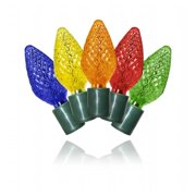 Winterland C-25C95M-12G 25 Count Commercial Grade Faceted C9 Multi Colored LED On Green Wire
