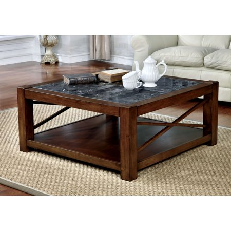 Furniture Of America Dolmin Transitional Style Genuine Square Marble Top Coffee Table