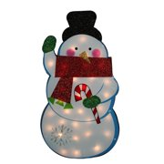 """30"""" Standing Tinsel Snowman Lighted Christmas Outdoor Decoration - Clear Lights"""