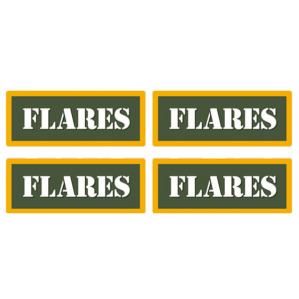 "Flares Ammo Can 4 Pack 3"" Olive OD Sticker Gun Ammunition Box Case Decal"
