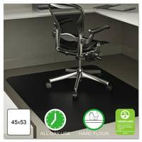 Deflecto EconoMat 45 x 53 Chair Mat for Hard Floor, Rectangular, Black