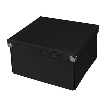 Pop n Store Decorative Collapsible Storage Box With Lid, Medium Square Box, Black