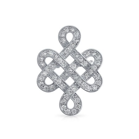 Eternal Celtic Love Knot Work Cubic Zirconia Pave CZ Wedding Brooch Pin Rhodium Plated Brass 1.2 Inch