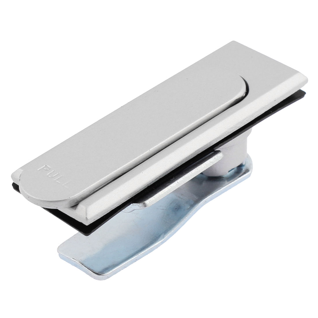 Machine 90mm Length Pull Button Cabinet Lock and Key Rectangle Metal Plane Silver Tone