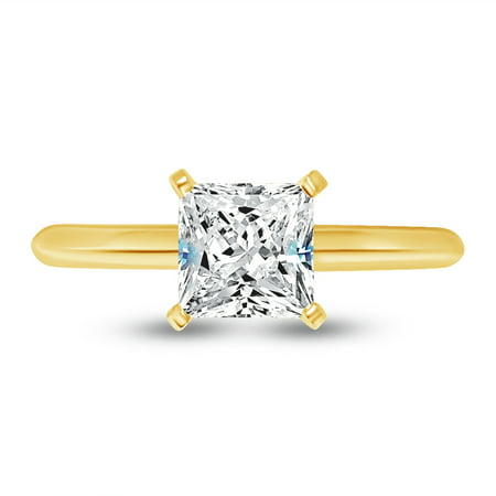 Solid 14k Yellow Gold Princess Cut Knife-Edge Four Prong Solitaire Engagement Ring CZ Cubic Zirconia 1.0ct. , Size (Solitaire Engagment Ring)