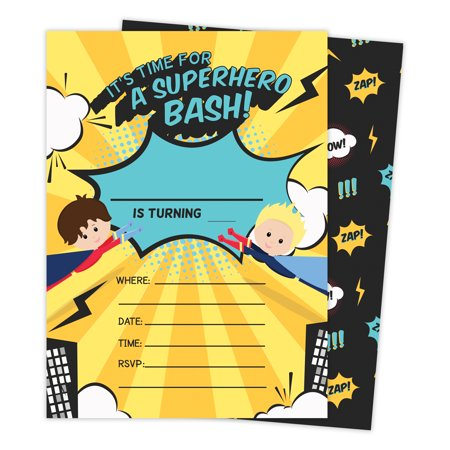 Superhero Boy 3 Happy Birthday Invitations Invite Cards (25 Count) With Envelopes & Seal Stickers Vinyl Boys Kids Party](Superhero Invitations)