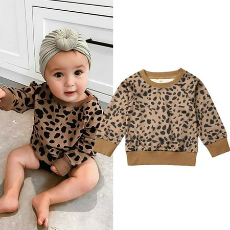 Winter Unisex Baby Leopard Sweatshirt Toddler Baby Boy Girl Long Sleeve Pullover Casual Top