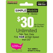 Simple Mobile $30 Unlimited 30-Day Prepaid Plan (5GB at high speeds) + International Calling Credit e-PIN Top Up (Email Delivery)