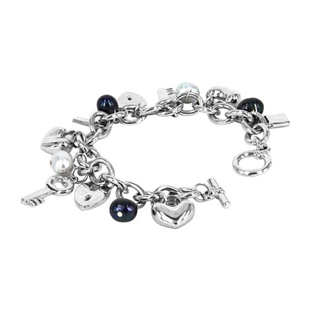 - ROSE ATOLL COLLECTION Black and Gray Baroque Pearl Charm Bracelet