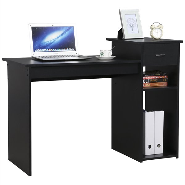 SmileMart Computer Desk Laptop Study Table with Drawer Home Office Workstation,Black
