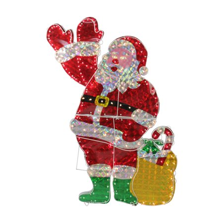 Northlight 48 in. Holographic Lighted Waving Santa Claus Christmas Decoration - Santa Door Decoration Ideas