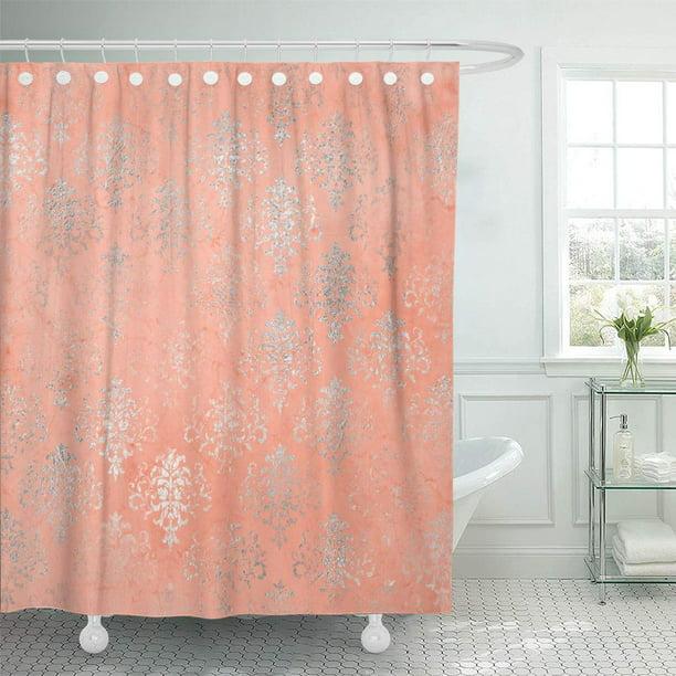 Cynlon Red Coral Peach Salmon Damask Blush Silver Floral Pink Bathroom Decor Bath Shower Curtain 60x72 Inch Walmart Com Walmart Com