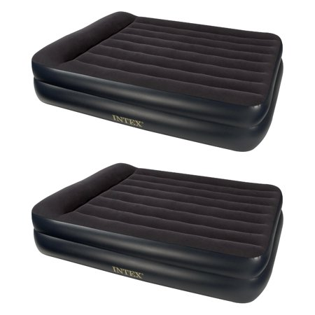 Intex Pillow Rest Queen Size Air Bed Mattress with Built In Air Pump (2 Pack) (Griffeys Air Max 2)