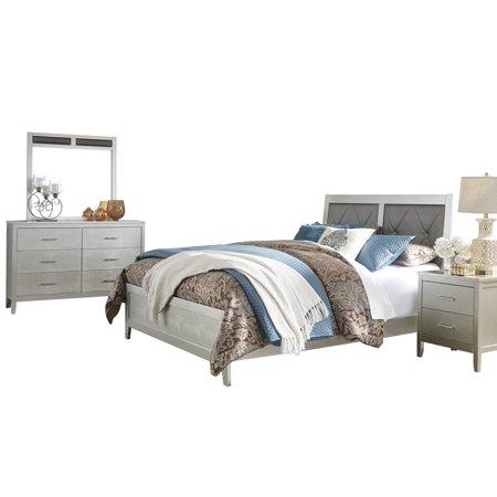 Ashley Furniture Olivet 4 Pc Bedroom Set Full Panel Bed 1 Nightstand Dresser Mirror Silver
