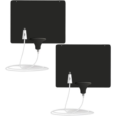 Mohu Ultimate Flat 60-Mile Indoor Amplified HDTV Antenna, 2-Pack
