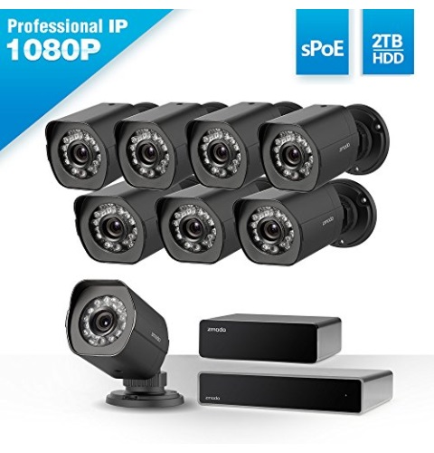 Zmodo 1080p Full HD 8 Outdoor Video Surveillance Security Camera System 8 Channel HDMI NVR, sPoE Repeater and 2TB Hard Drive
