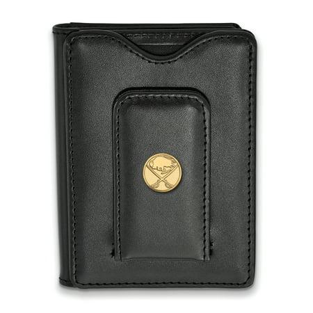 Lex & Lu LogoArt Gold Plated Sterling Silver NHL Buffalo Sabres Black Leather Wallet