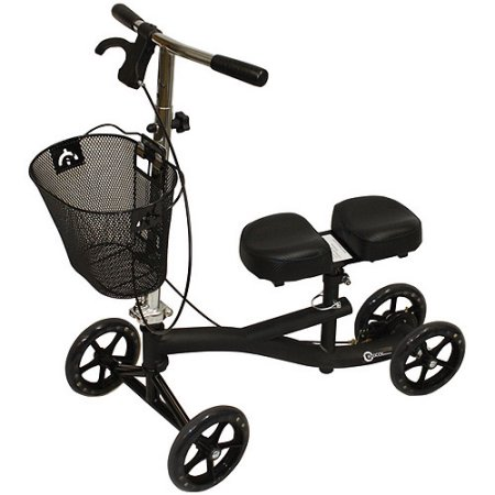 Roscoe Medical Knee Walker Scooter with Basket and Padded Seat, Black