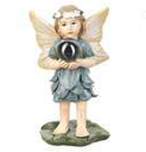 Blue & Yellow Fairy Holding Gazing Ball Figurine Garden Fantasy Collection by Ganz by